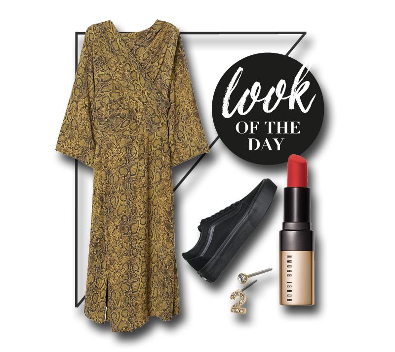 collage mit kleid, sneakern, ohrsteckern und lippenstift
