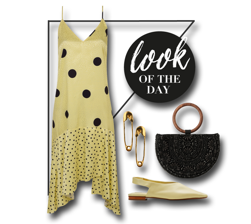 collage mit kleid, schuhen, ohrringe und tasche