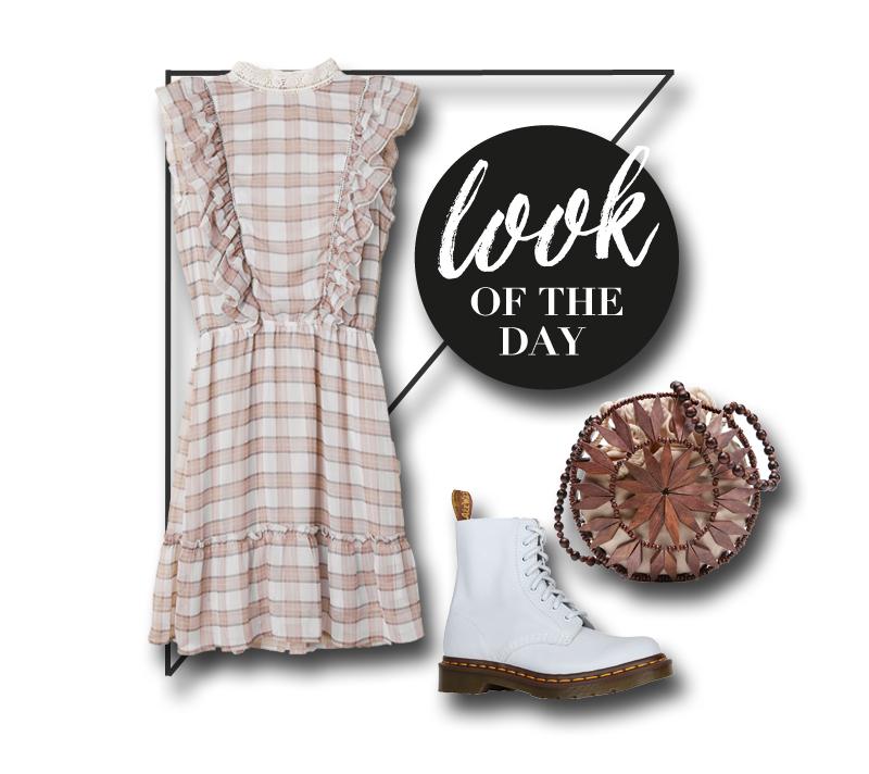 collage mit kleid, boots und tasche