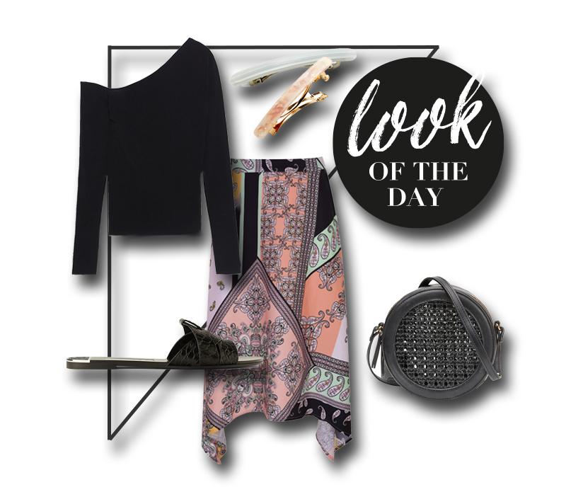 collage mit pullover rock schuhen haarspangen und tasche
