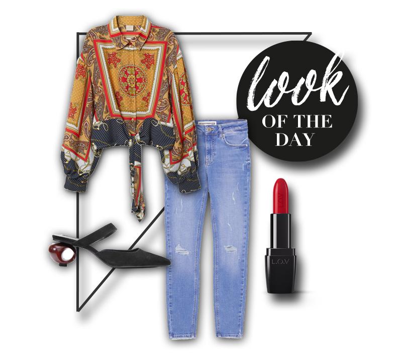 collage mit bluse jeans schuhen und lippenstift