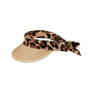 visor cap aus bast mit leoparden band