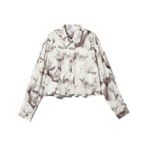 produktbild weiße bluse mit kunst-print