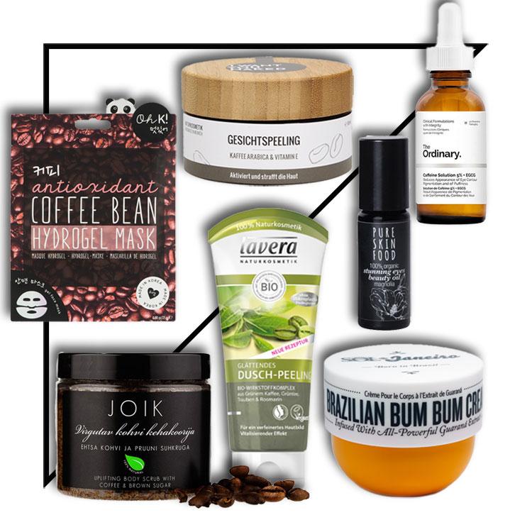 collage mit produkabbildungen verschiedener Beauty-Produkte mit dem Inhaltsstoff Koffein