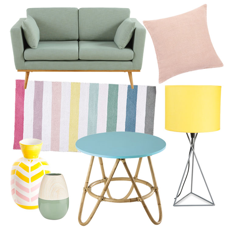 collage mit produktabbildungen von möbeln und deko in eiscremefarben