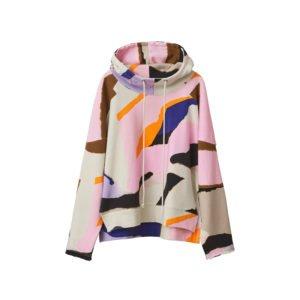 produktbild bunter hoodie mit kunst-print