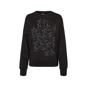 schwarzes sweatshirt mit single line print