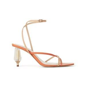 orangefarbene sandale mit kunstvollem absatz