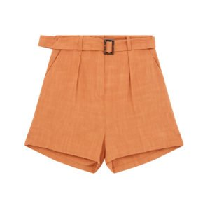 produktbild high waist shorts in orange mit gürtel