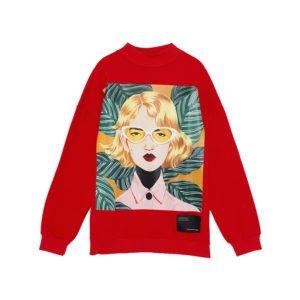 produktbild rotes sweatshirt mit kunst-print