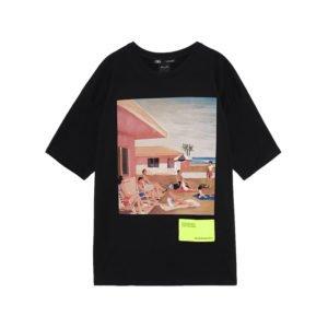 produktbild schwarzes t-shirt mit kunst-print