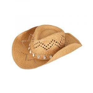 produktbild cowboyhut aus stroh mit muscheln