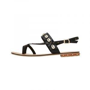 produktbild schwarze flache sandale mii muscheln
