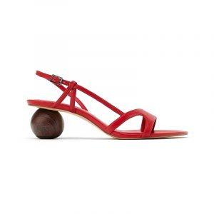 produktbild rote sandale mit rundem absatz