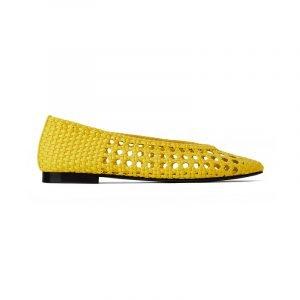 produktbild gelber geflochtener loafer