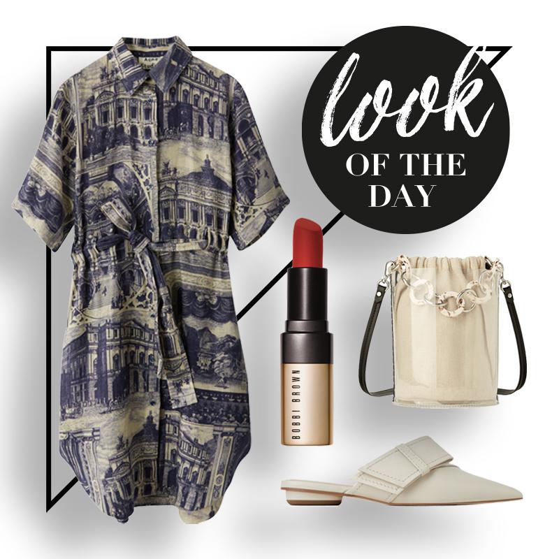collage mit kleid lippenstift tasche und schuhe