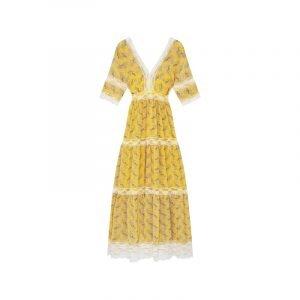produktbild langes gelbes kleid mit paisley muster