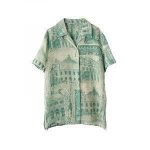 produktbild grüne bluse mit porzellan print