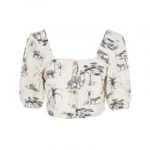 produktbild kurze bluse mit porzellan-print