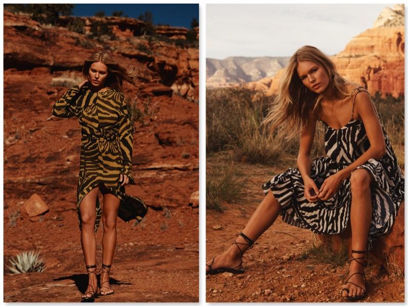 zwei junge frauen in kleidern mit zebra-muster