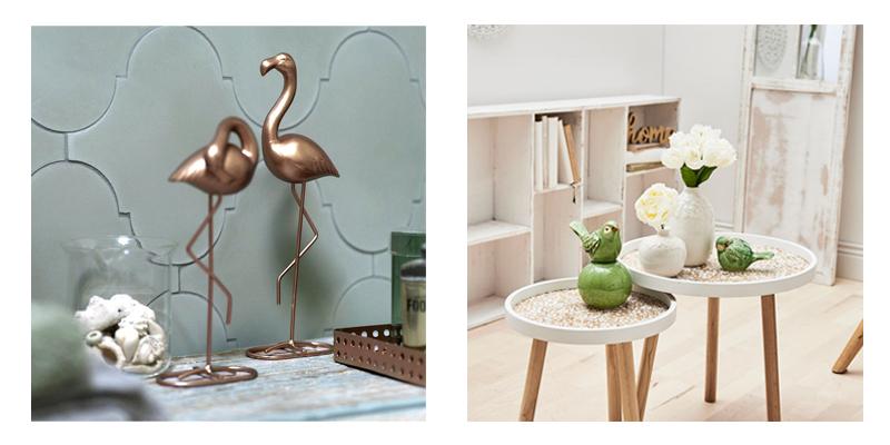 dekorationsmotive mit flamingos und schwalben