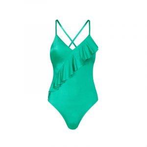 produktbild grüner badeanzug mit rüschen
