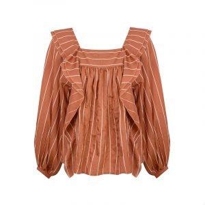 produktbild gestreifte bluse mit square neckline