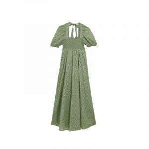 produktbild grünes kleid mit square neckline
