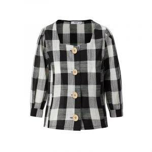produktbild karierte bluse mit square neckline ausschnitt