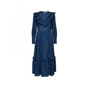 Volant Besatz an Denim Kleid von Selected Femme