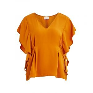 Volants-Ärmel an curryfarbenem VILA Shirt