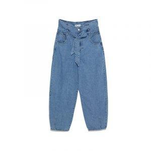 Slouchy Jeans im Used-Look mit Bindegürtel
