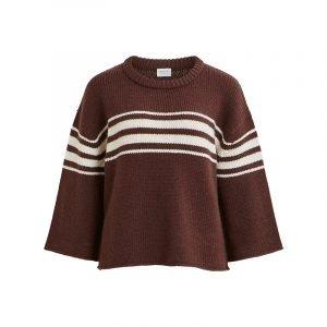 Pullover braun-weiß gestreift