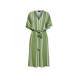 Streifen-Kleid grün-weiß