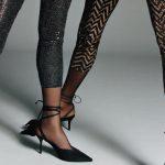 Frauen tragen Glitzer Leggings
