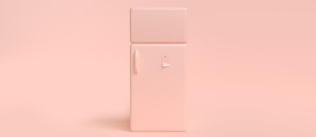 rosafarbener kühlschrank