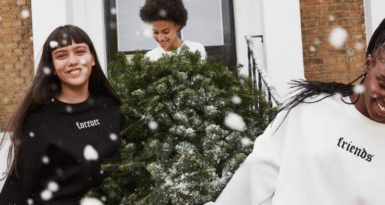 drei junge frau die einen weihnachtsbaum tragen