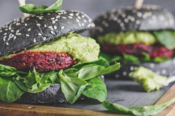 gesunde vegane schwarze burger