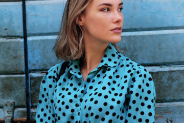 Polka Dots Bluse blau