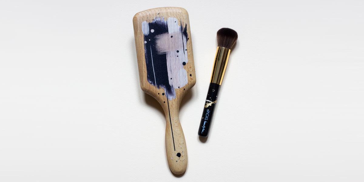 geschenkset haarbürste und make up pinsel